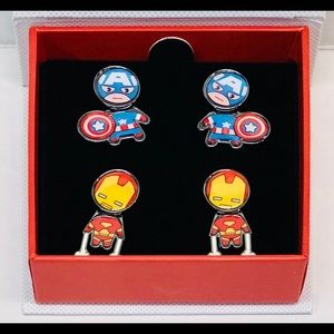 Captain America & iron man earrings set